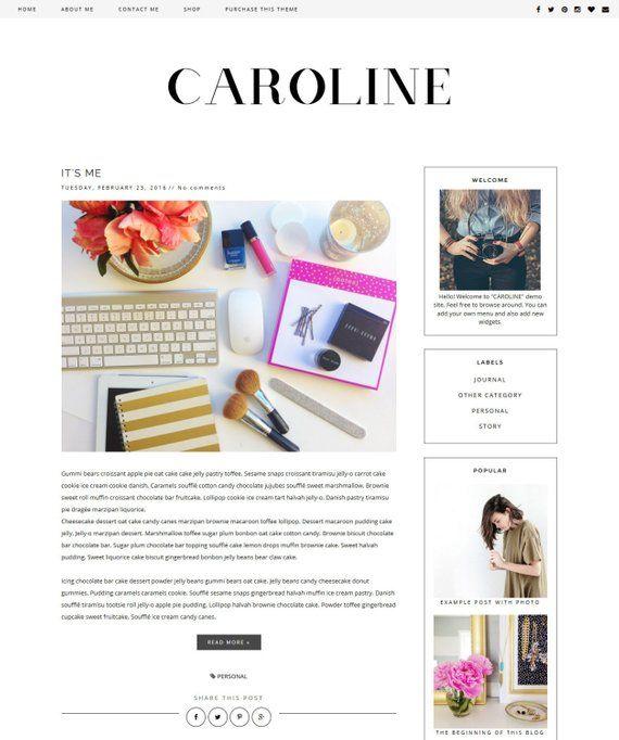 New Premade Blogger Template Clean Blog Design Black White Blog