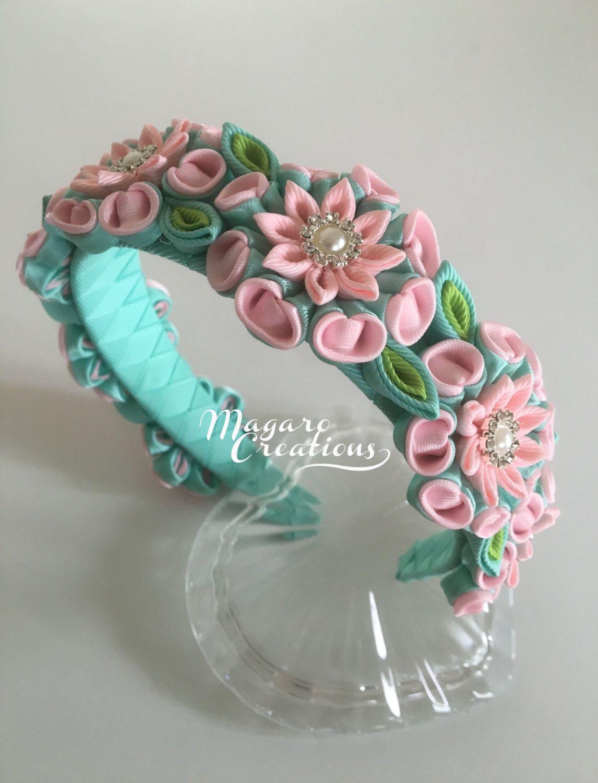 Diadema rosa diademas kanzashi venda de la muchacha for Modelos de diademas