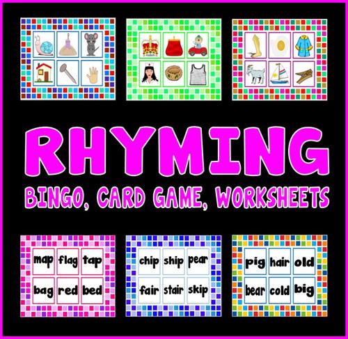 Rhyming resources eyfs ks1 letters sounds bingo, card