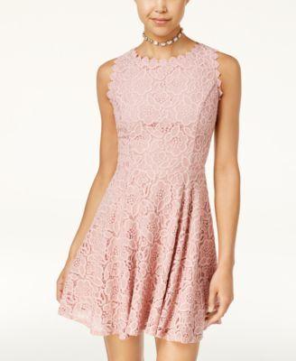06a514700e06 Juniors' Lace Fit & Flare Dress | Real estates | Junior dresses, Fit ...