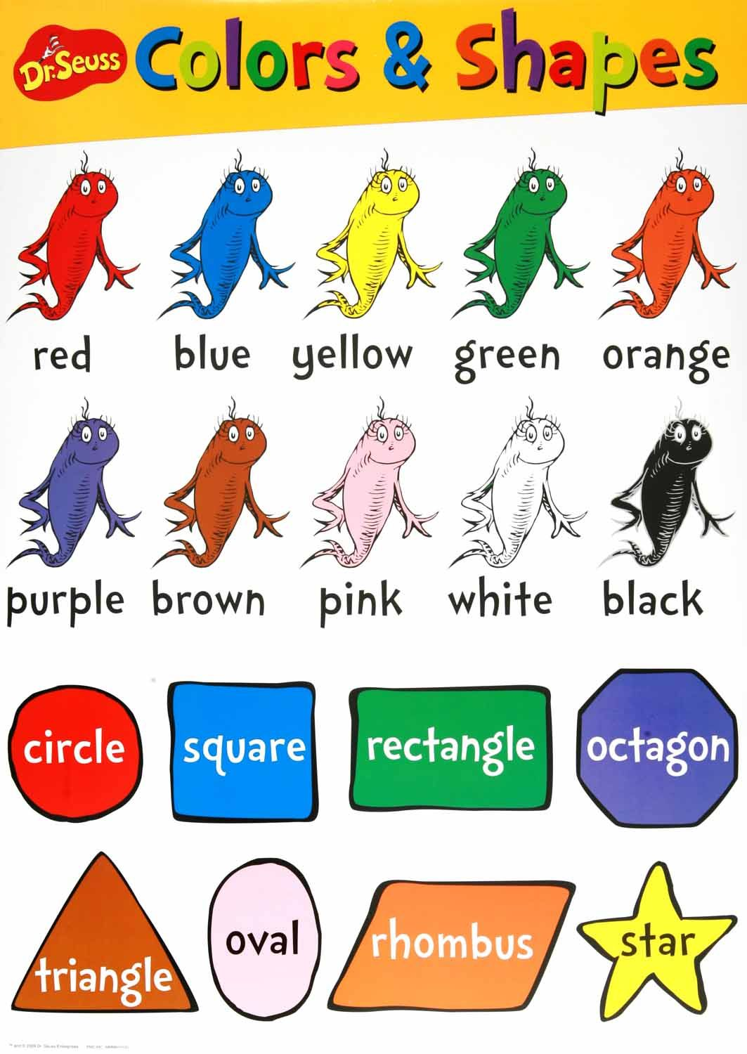 Dr seuss beginning concepts bulletin board set color shapes colors shapes chart included in the dr seuss beginning concept bulletin boards set geenschuldenfo Images