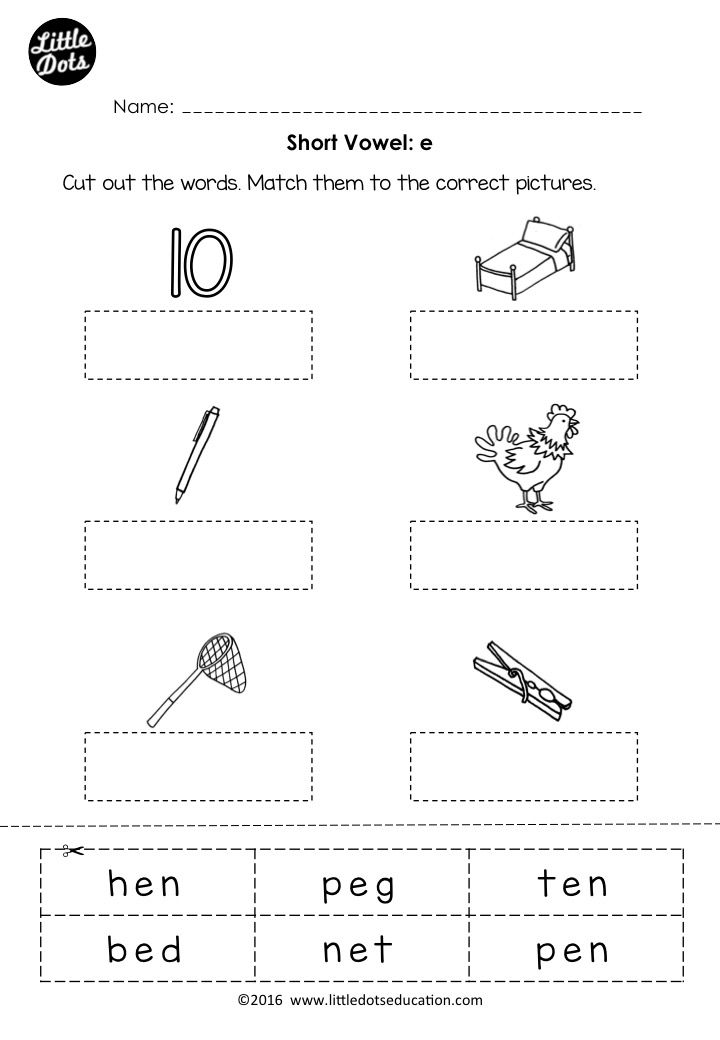 Free Short Vowel E Worksheet For Preschool Or Kindergarten Class Short Vowel Worksheets Vowel Worksheets Short Vowels Kindergarten