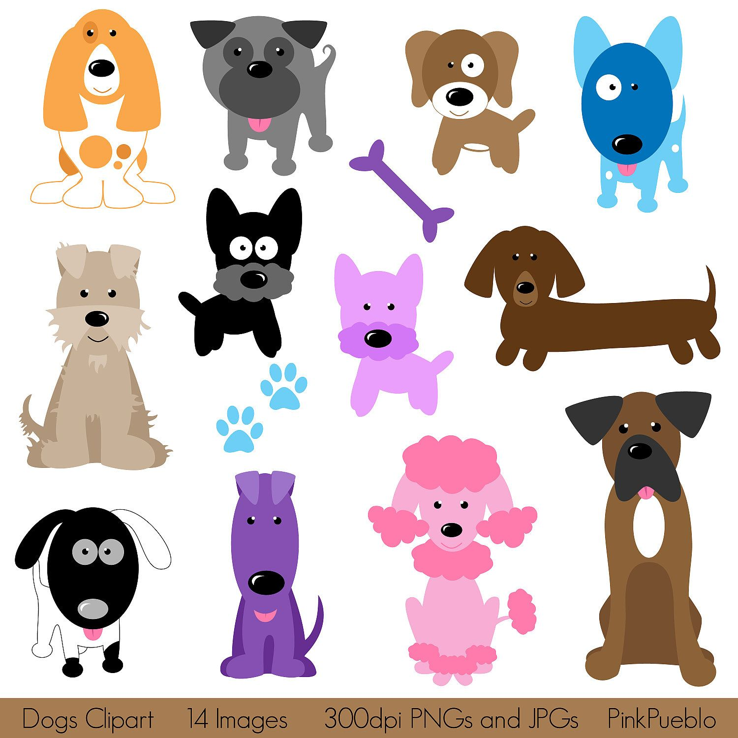 dogs clipart clip art puppy clipart clip art commercial and personal use 6 00 via etsy  [ 1500 x 1500 Pixel ]