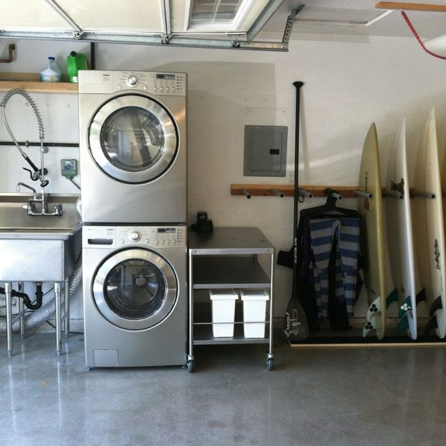 Finished Garage With Utility Sink And Surf Racks Garage