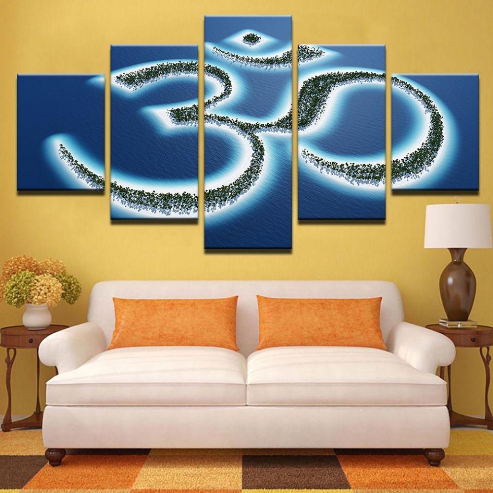5 piece sacred om symbol buddha yoga canvas in 2020 with