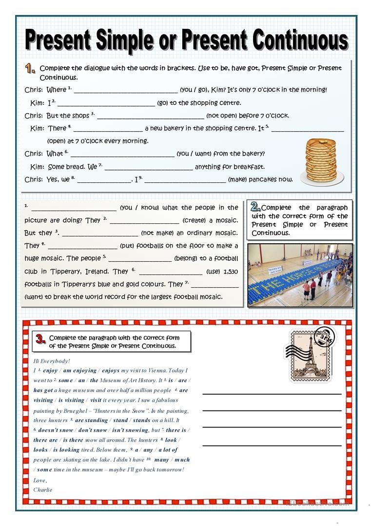 Present Simple Or Continuous Worksheet Free Esl Printable