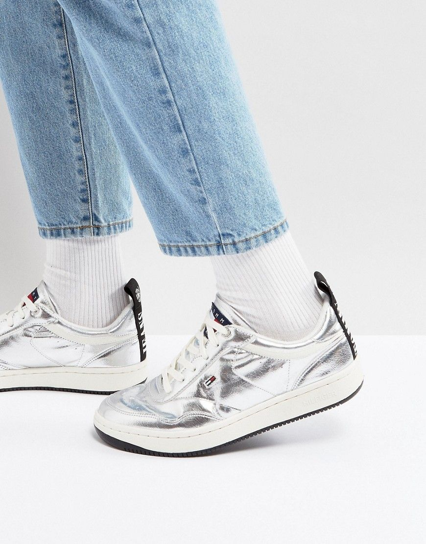 fc1d29b58b3 TOMMY JEANS 90 S CAPSULE JUMP LOGO SNEAKERS METALLIC IN SILVER - SILVER.   tommyjeans  shoes