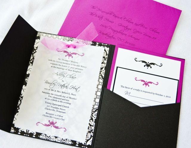 Hochzeit Einladungen Rosa Schwarz Kontrastfarben Kreativ
