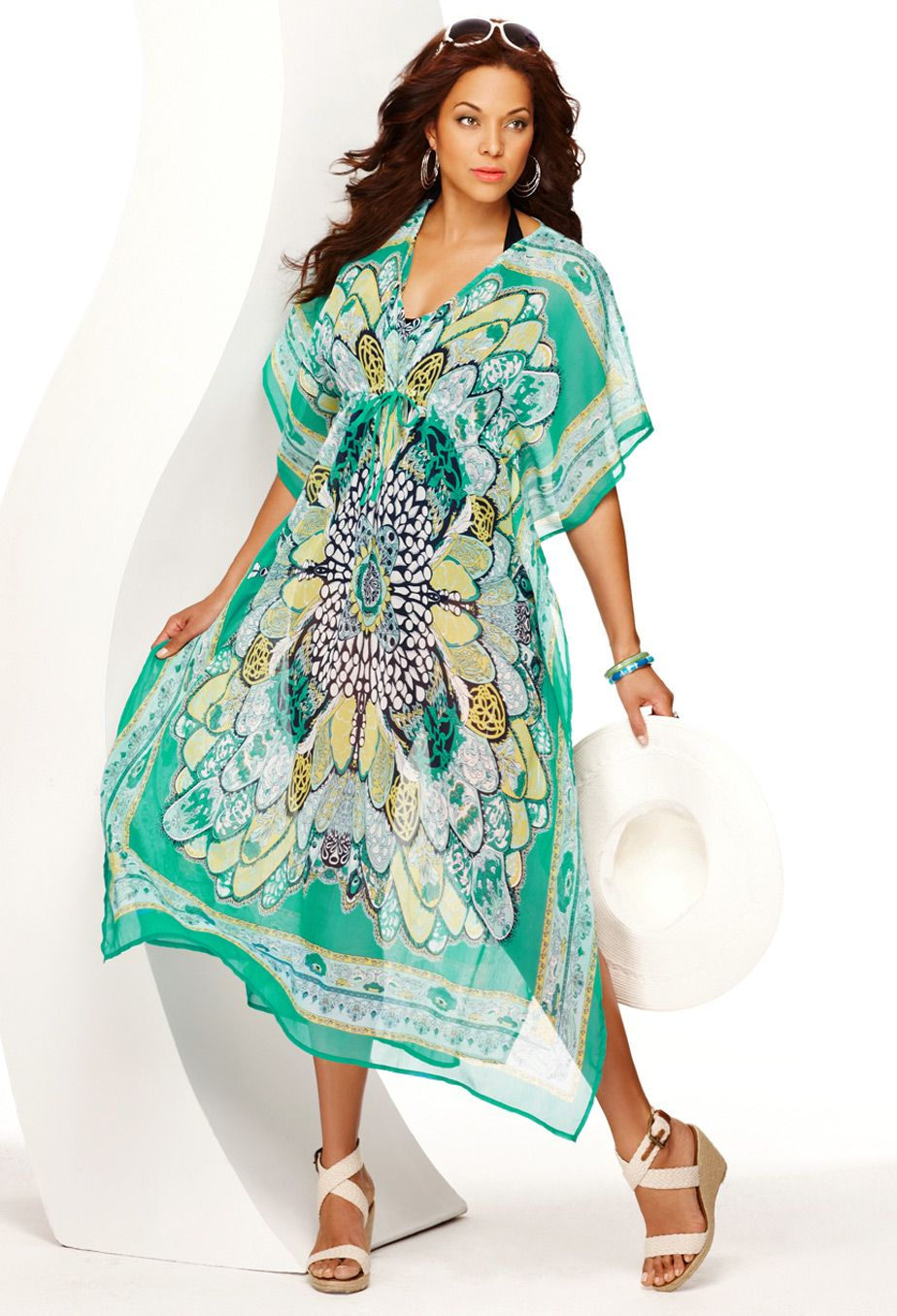 94e6ada3bed2b Plus Size Floral Caftan Maxi Cover Up