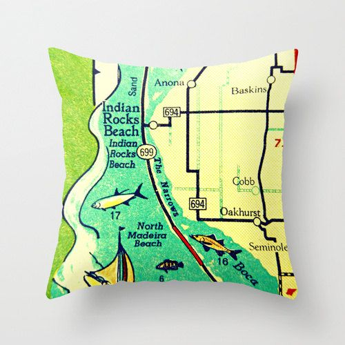 Florida Map Of Beaches.Florida Map Pillow Indian Rocks Beach By Vintagebeachmaps 38 00