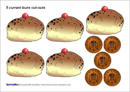 5 currant buns rhyme cut-outs (SB2088) - SparkleBox