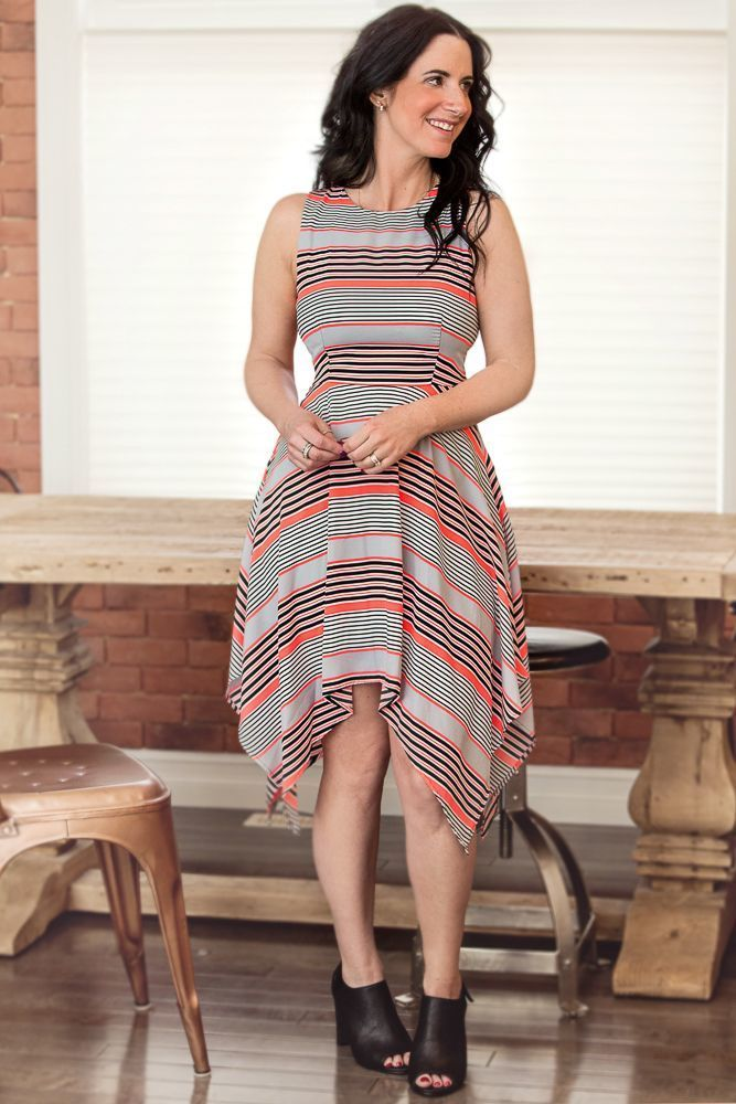 Image of Neon Striped Dress with Cut-Out Back Detail