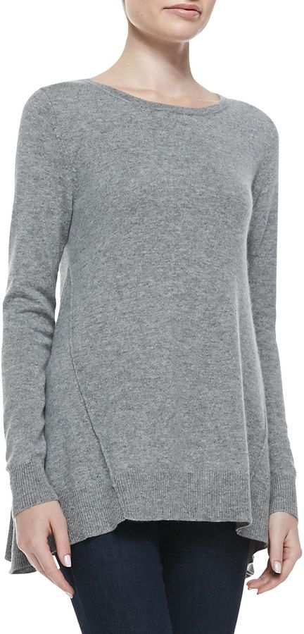 Neiman Marcus Cashmere Collection Exposed Seam Hi-Low Cashmere Tunic