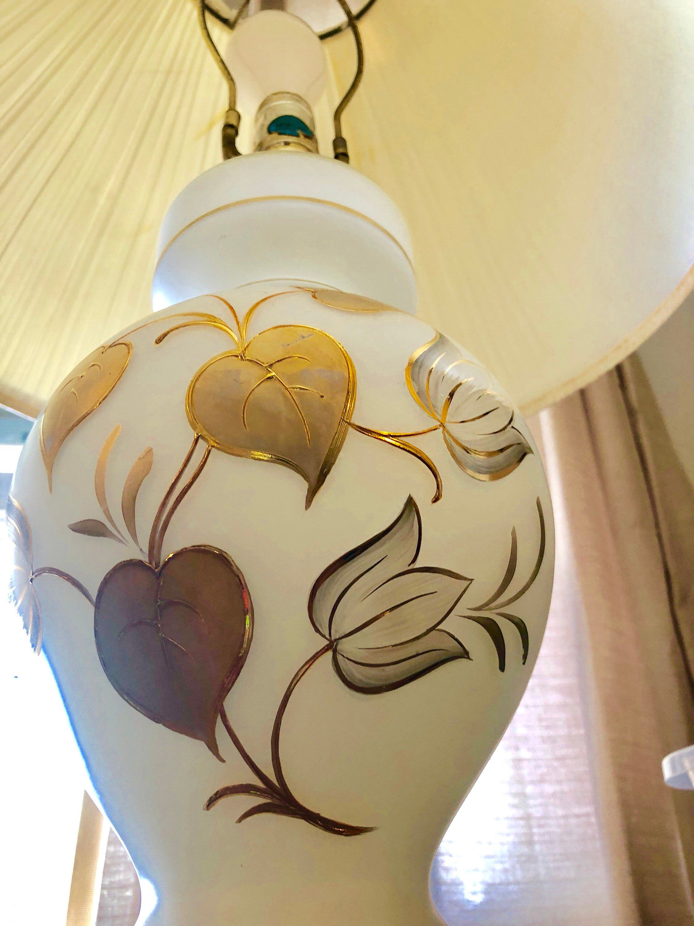 Tulip Bavarian Triplex Hand Blown Painted Lamp Painting Lamps Hand Blown White And Gold Decor