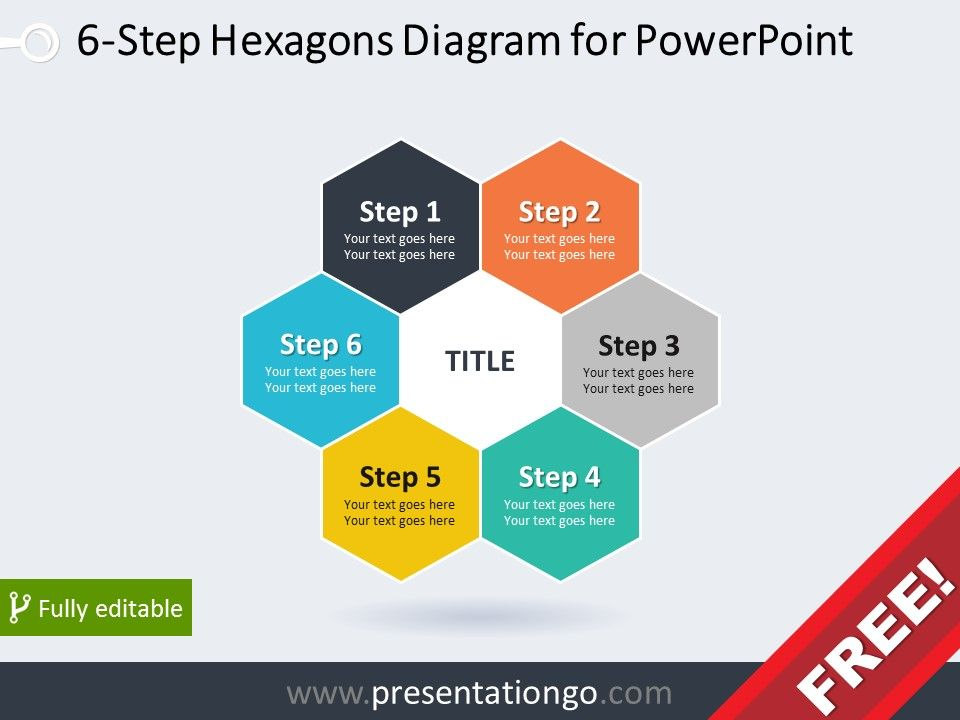 6 step hexagons diagram for powerpoint diagram and graphics free diagram for powerpoint with 6 hexagonal pieces ccuart Images
