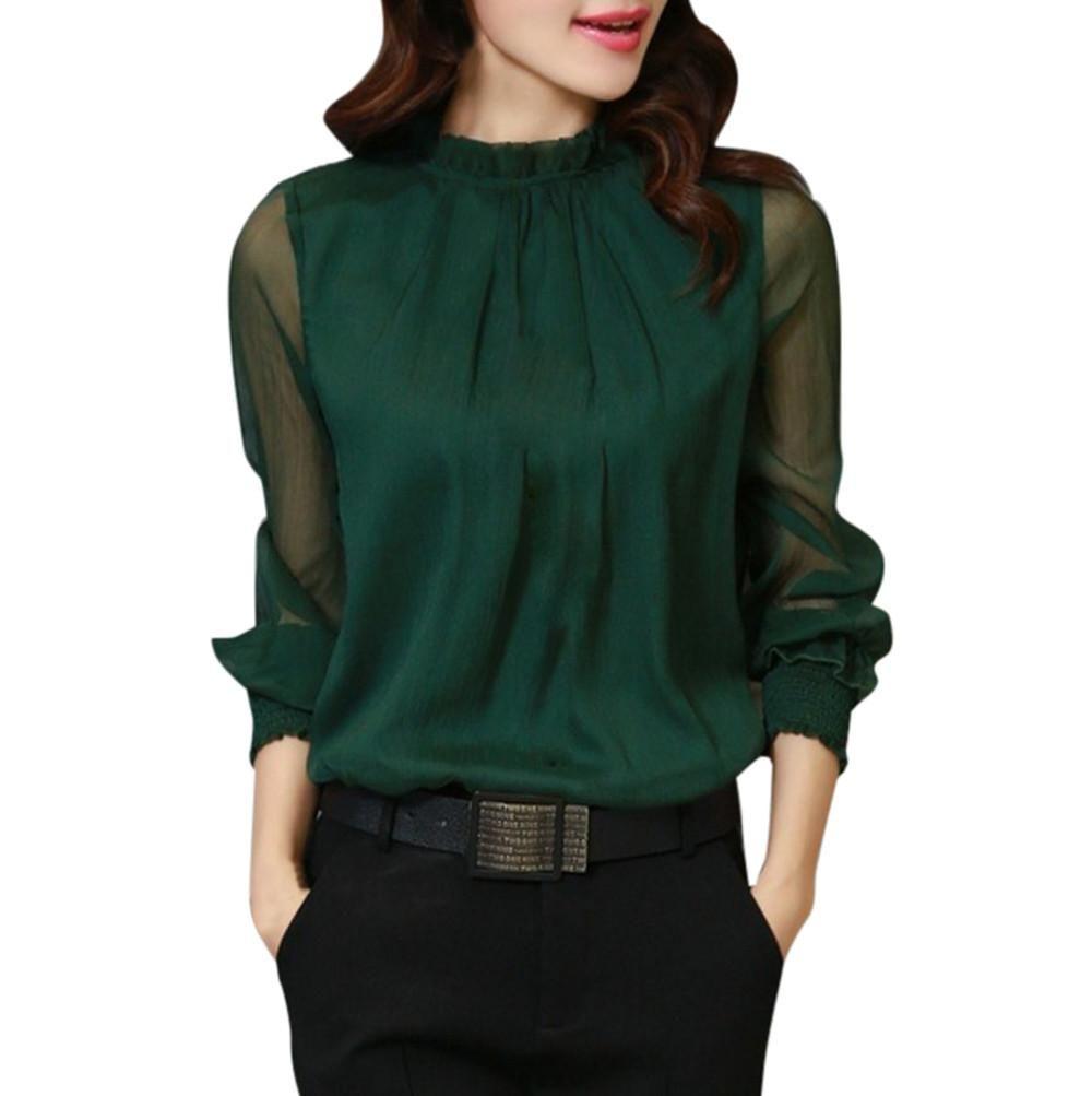 Elegant chiffon loose ruffles long sleeve blouse christmas fashion