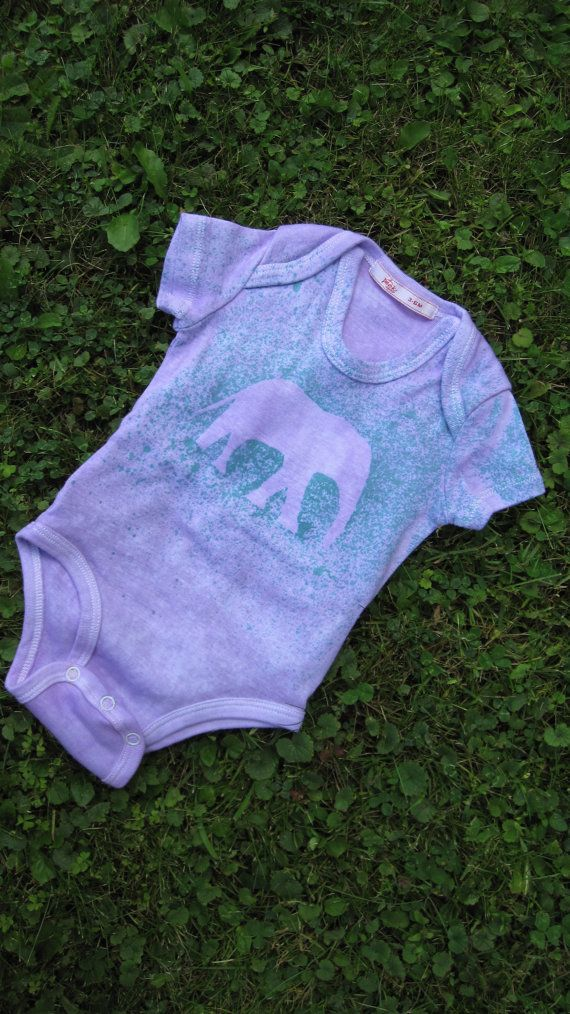 Light purple elephant onesie with purple/teal splatter  - Peekapoo back-