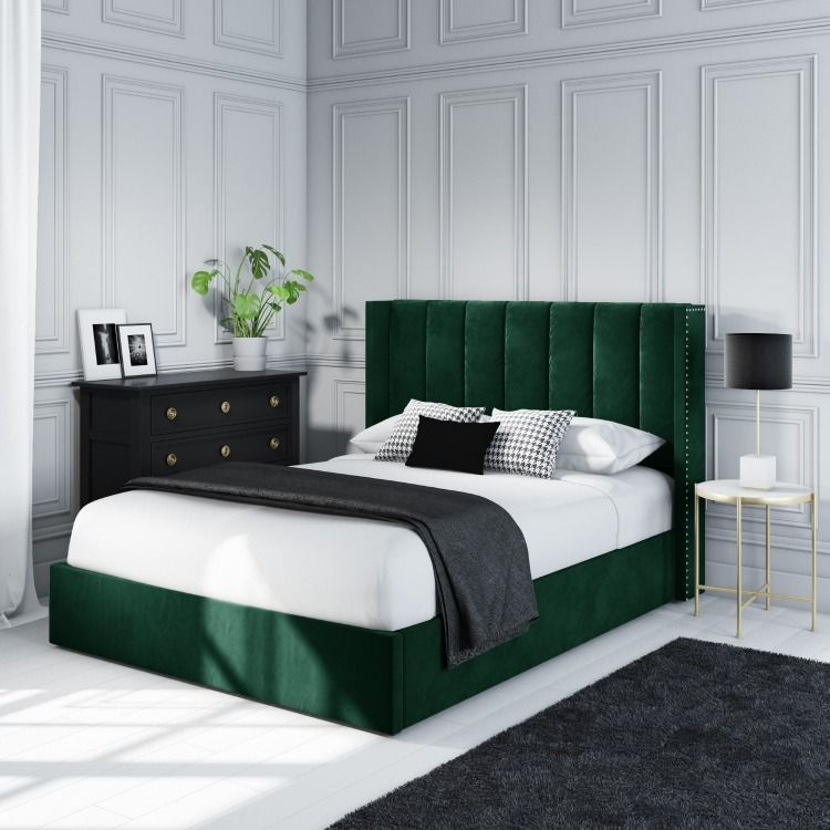 Maddox Wing Back Double Ottoman Bed In Green Velvet Mad004 Bedroom Design Velvet Bedroom Ottoman Bed
