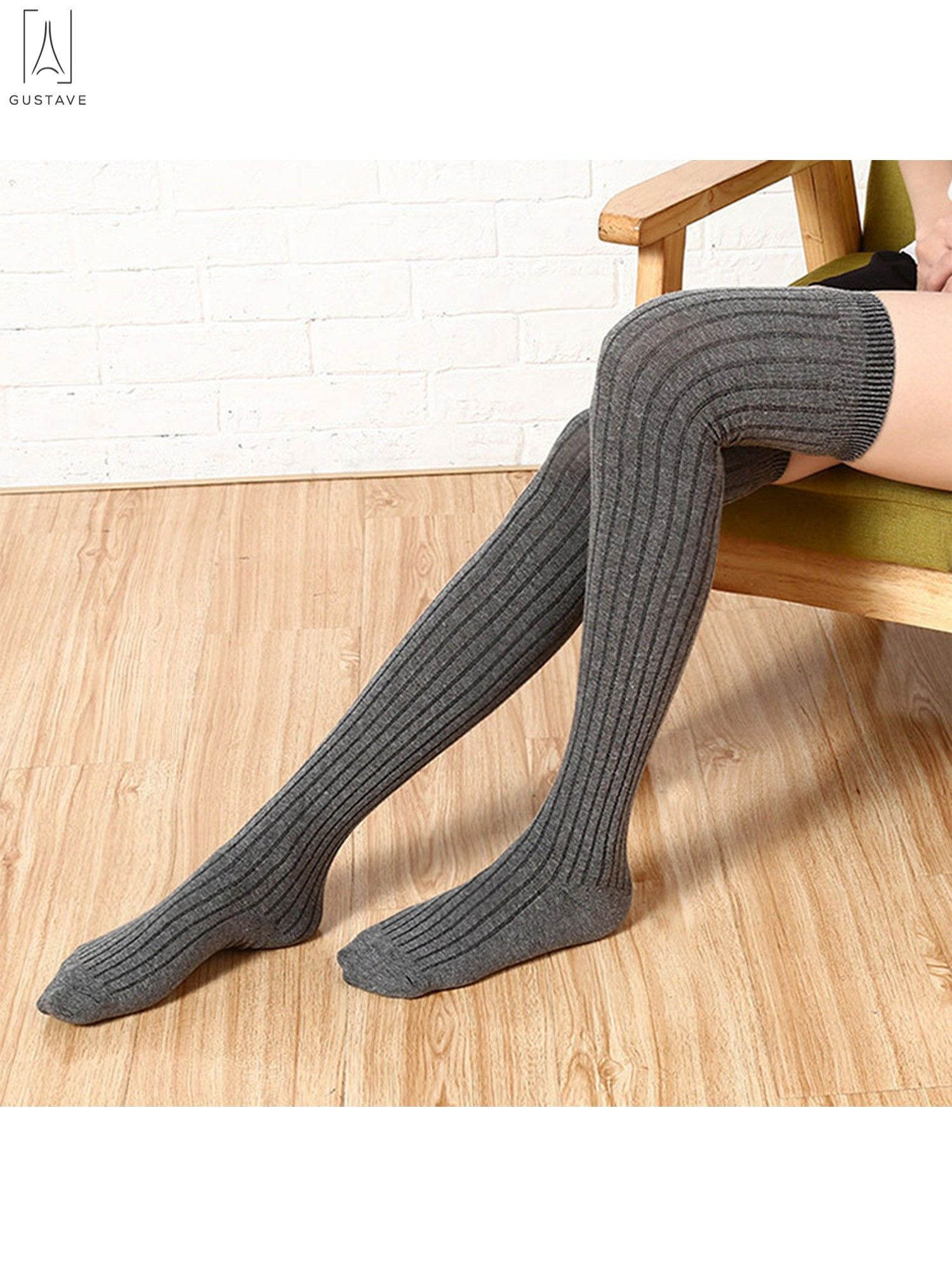 96608068973 GustaveDesign Women Thigh High Socks Over the Knee Leg Warmer High Boot Knit  Stocking