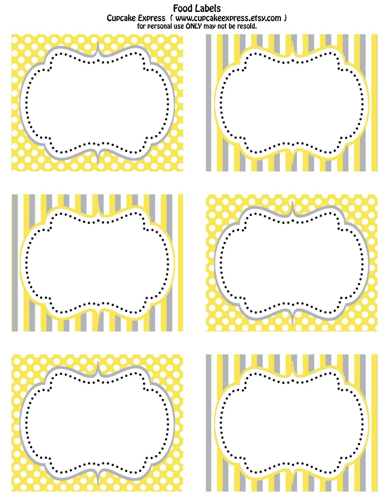 cupcake express: free printable yellow and grey food labels& cupcake