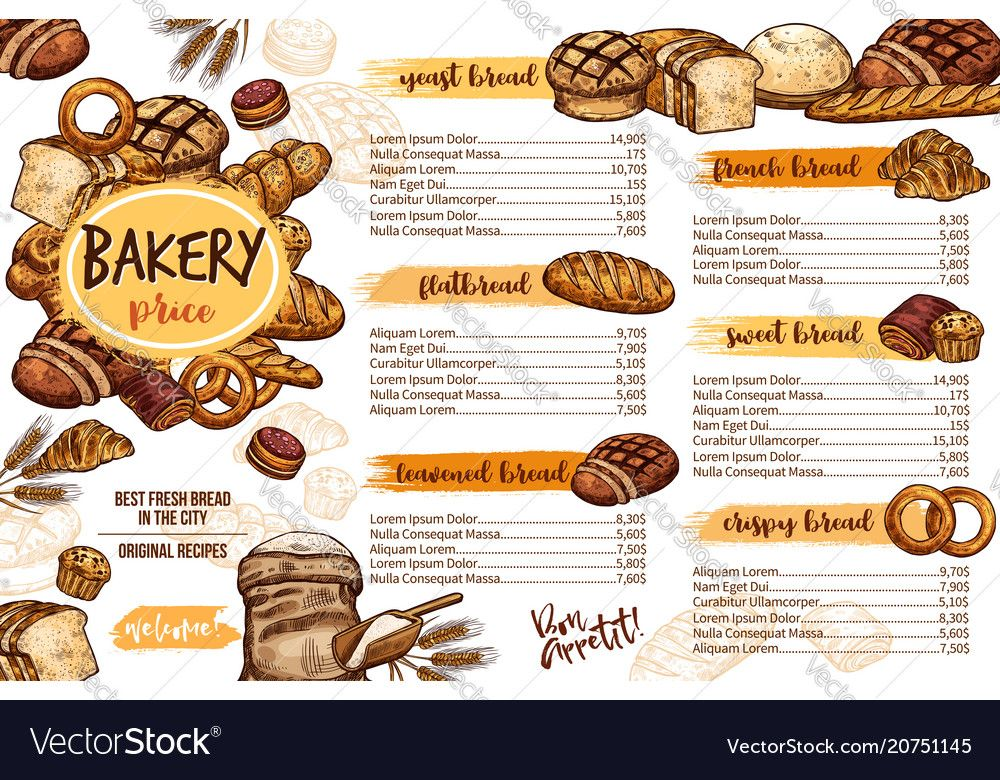Bakery menu template of bread for cafe and pastry vector