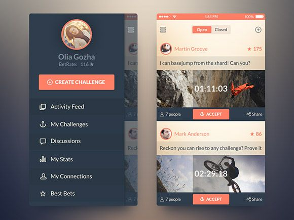 Here is the concept of an iOS7 app for challenging friends including two screens. Free PSD created and released Olia Gozha.