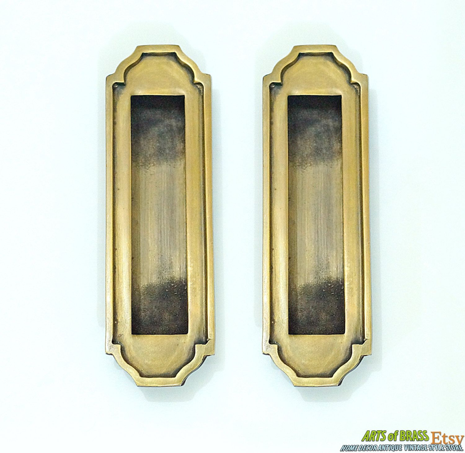 "5 70"" Inches Lot of 2 pcs Vintage Solid Brass Big Art Deco Baldwin"