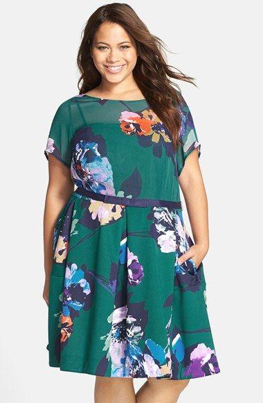 taylor+dresses+floral+print+belted+chiffon+&+scuba+knit+dress+(