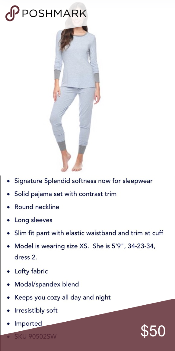 NWOT Splendid Heathered Pajamas Brand new, never worn - no tags attached. Light blue and grey. Extremely soft and comfortable! Splendid Intimates & Sleepwear Pajamas