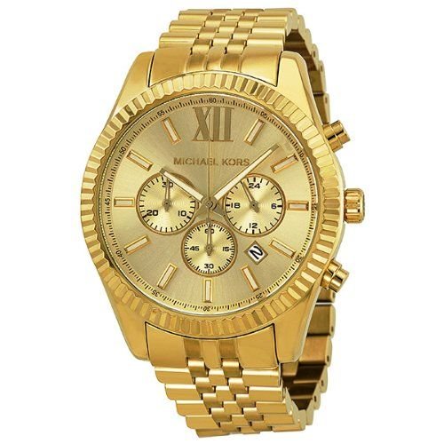 This Michael Kors timepiece features a champagne dial set on a plated steel  case. A matching bracelet completes the look. Kors delivers the ultimate  sport