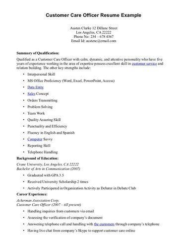 Example Of Customer Service Resume Resume Job Example