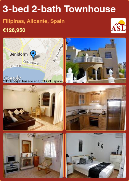 3bed 2bath Townhouse in Filipinas, Alicante, Spain Save