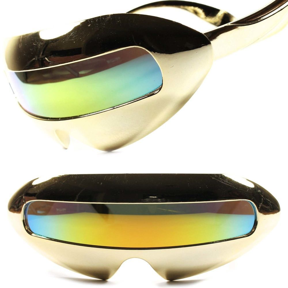 9f4aeda577 Alien Space Robot Party Costume Futuristic Novelty Gold Revo Sunglasses  B28A  KISS  Futuristic