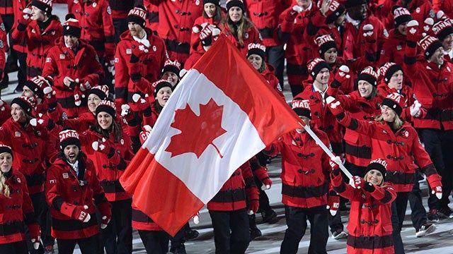 Sochi 2014 Hayley Wickenheiser Flag Bearer Opening Ceremonies Canada Team Canada Canada Flag