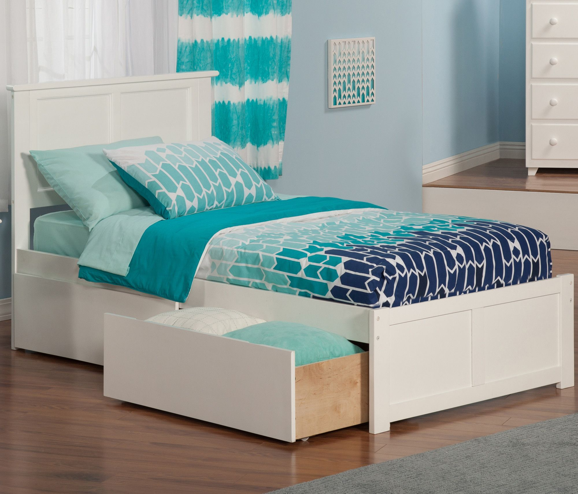 Marjorie Extra Long Twin Panel Bed with Storage Atlantic