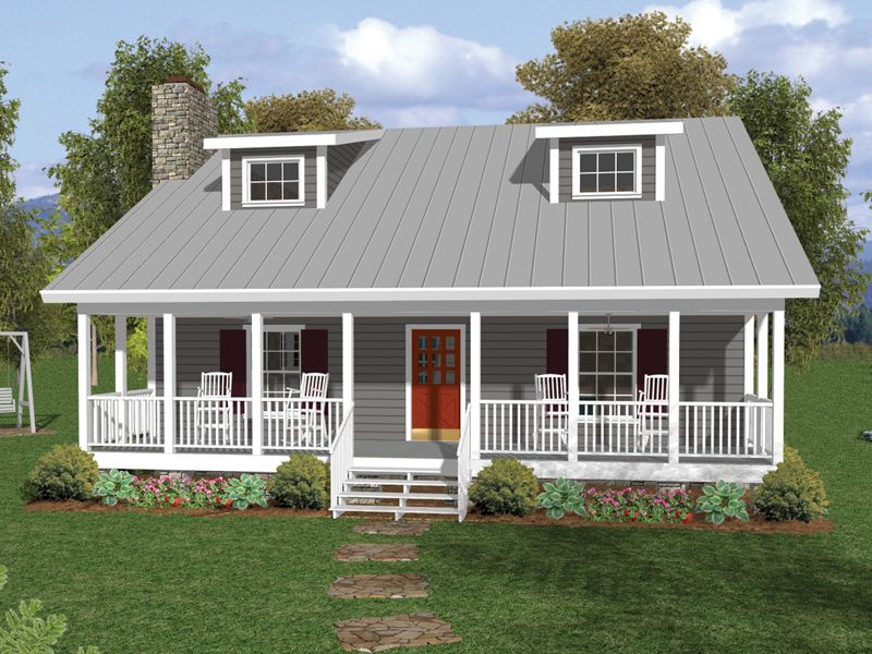 One and a half story home with deep covered porch and twin for Single story house plans with front porch