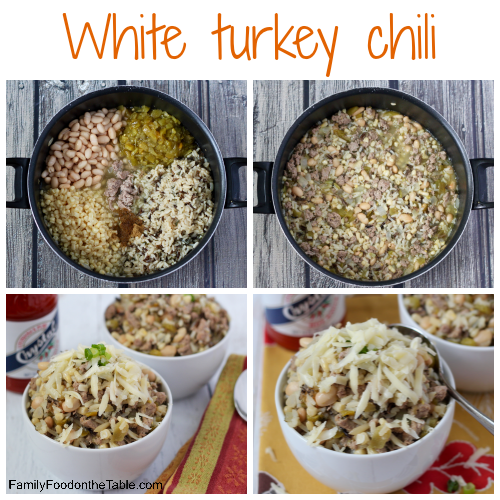 White turkey chili with cheese - an easy, healthy chili ready in about 30 minutes!   FamilyFoodontheTable.com
