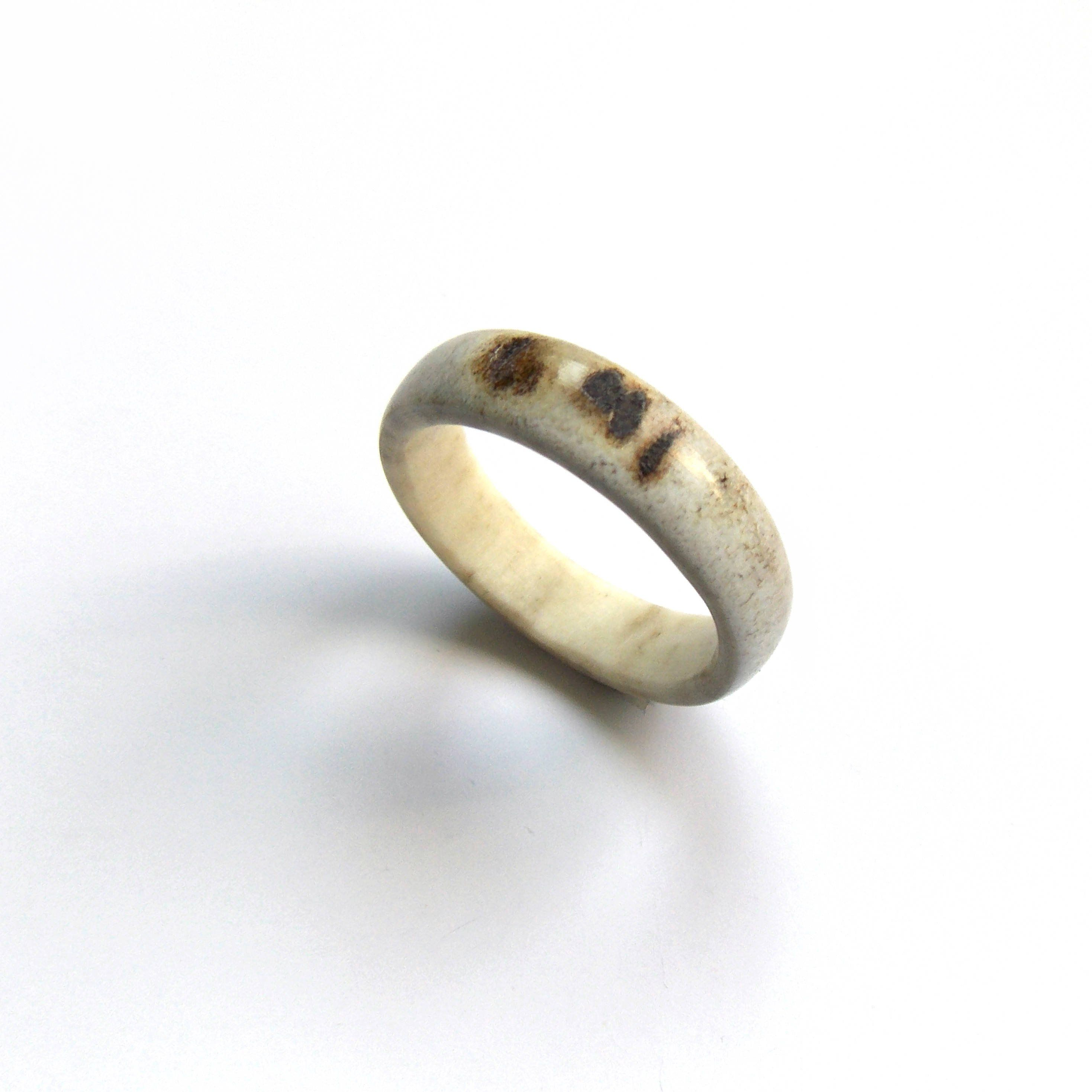 large deer antler ring, mens rustic wedding band, thumb ring