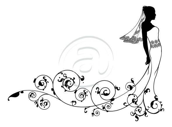 Wedding dress black and white clipart book