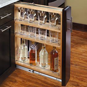 Pull out wire basket shelves for tight spaces makes a great micro mini bar in your rv rv - Base cabinet pull out spice rack ...