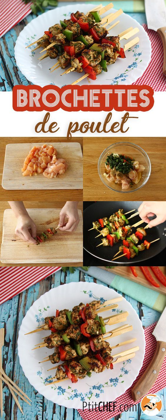 #ptitchef #recette #cuisine #brochette #poulet #poivron #faitmaison #recipe #cooking #homemade #chicken #pepper #diy #imadeit