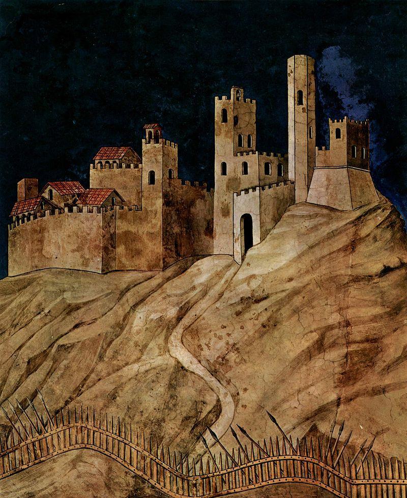 Simone Martini - Guidoriccio da Fogliano all'assedio di Montemassi, dettaglio - affresco - 1328-30 - Siena - Palazzo Pubblico, Sala del Mappamondo