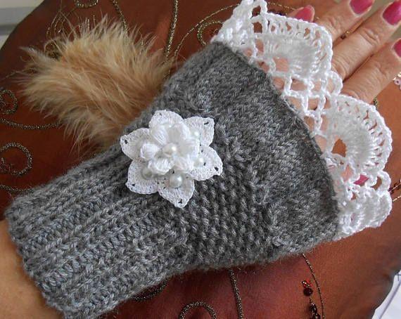 Photo of Graue Wolle Frauen fingerlos / häkeln fingerlose Handschuhe / Strickzubehör, Geschenk für Frauen, Fäustlinge …