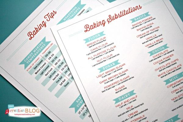 Baking Tips and Substitutions FREE Printable | TodaysCreativeblog.net