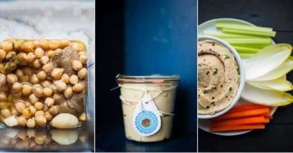 Collage mit drei Bildern: Kichererbsen im Mixer, ein Weckglas mit Humus gefüllt und eine Schale mit Humus und Gemüsesticks