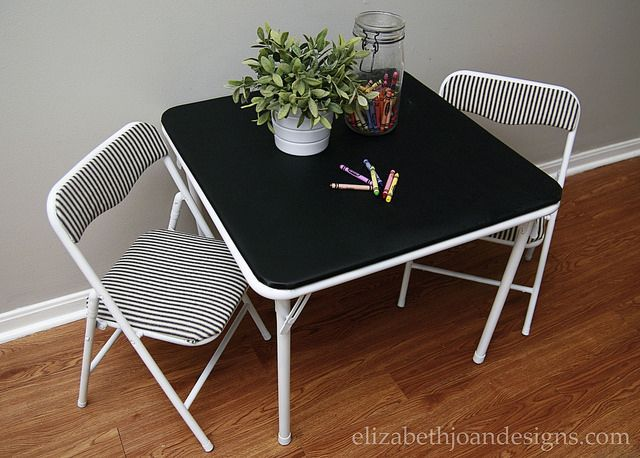 Revamped Mini Folding Table and Chairs  ELIZABETH JOAN DESIGNS is part of Diy kids table - It's no secret that we enjoy grabbing treasures from the side of the road  Like this revamped mini folding table and chairs that I found and made over