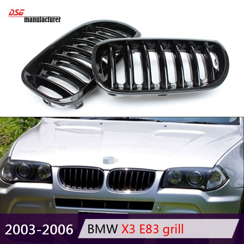 1 Slat Front Kidney Abs Hood Grill Grille For Bmw 2003