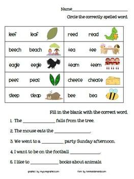 This worksheet covers ee and ea patterns. | Phonics | Pinterest