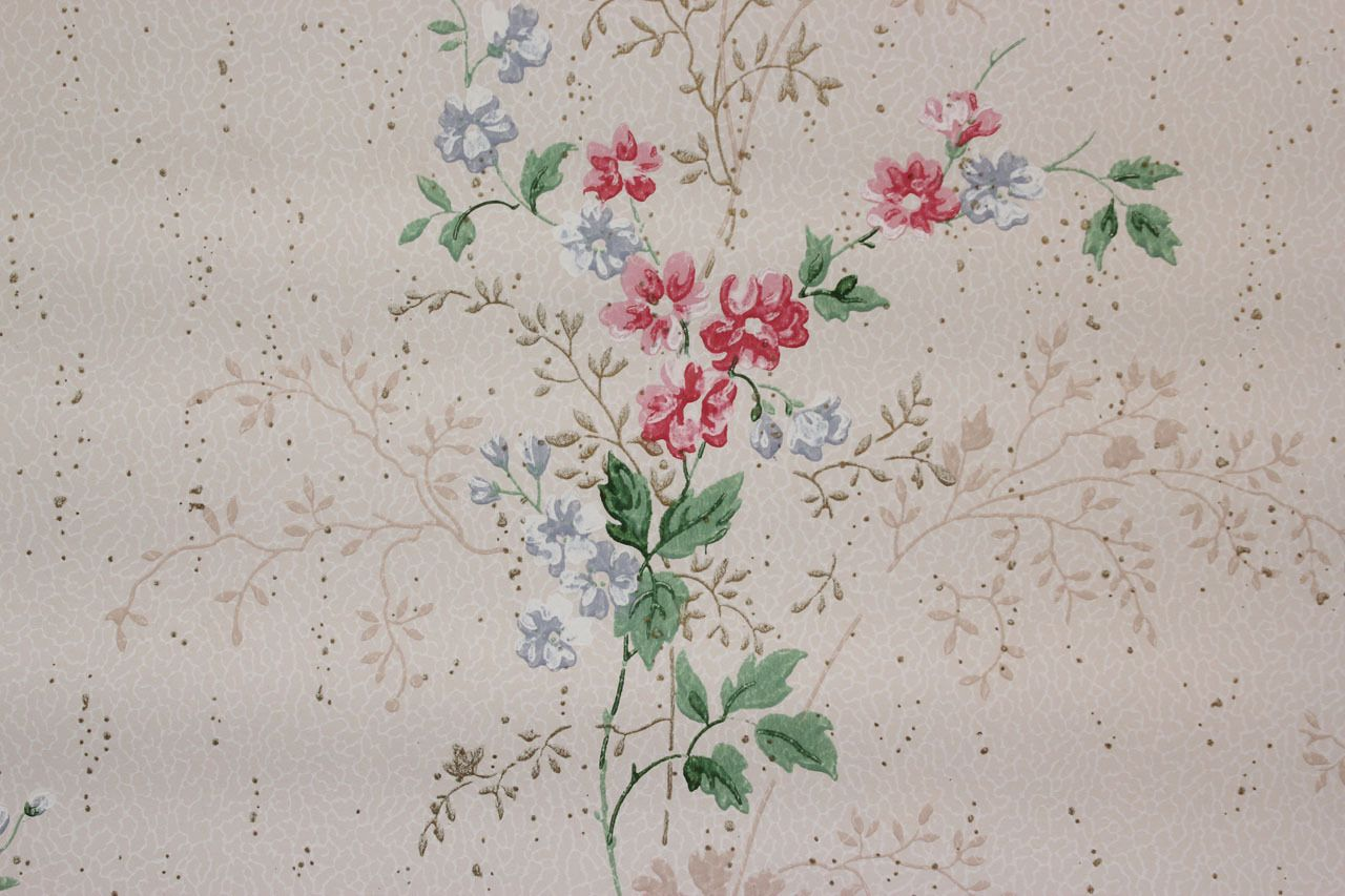 http://www.rosiesvintagewallpaper.com/1940s-vintage-wallpaper-pink-and-blue-flower-bouquets-with-gold-accents/
