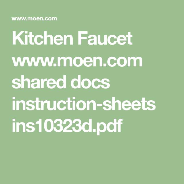 Kitchen Faucet Www Moen Com Shared Docs Instruction Sheets